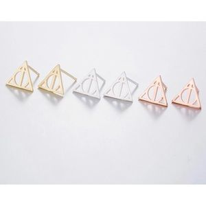 Jewelry - 3 Deathly Hallows geometric design stud earrings